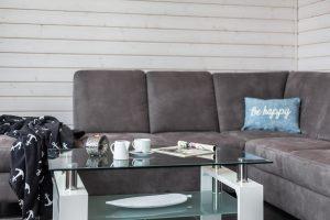 Zur Ausstattung gehört ein Ecksofa für gemütliche Stunden im Urlaub im Ferienhaus an der Ostsee